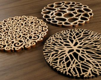 Hardwood Graphic Coasters -The Organics Series