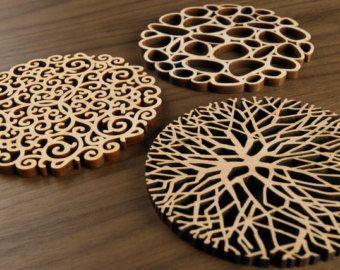 Kaleidescope Wood Cut Coasters // Alder Wood
