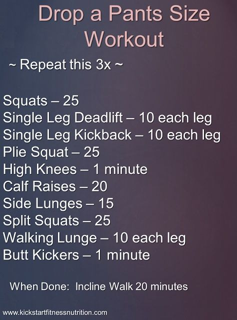 Drop a Pants Size Workout Do this workout 2-3 times a week for leaner, tighter hips, butt and thighs