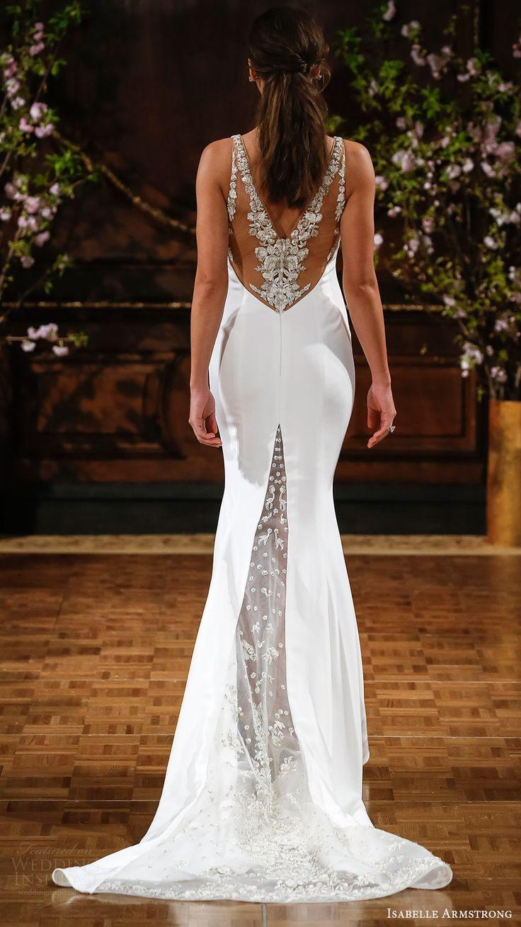 isabelle armstrong bridal spring 2017 sleeveless deep vneck sheath wedding dress (storm) bv sheer back train