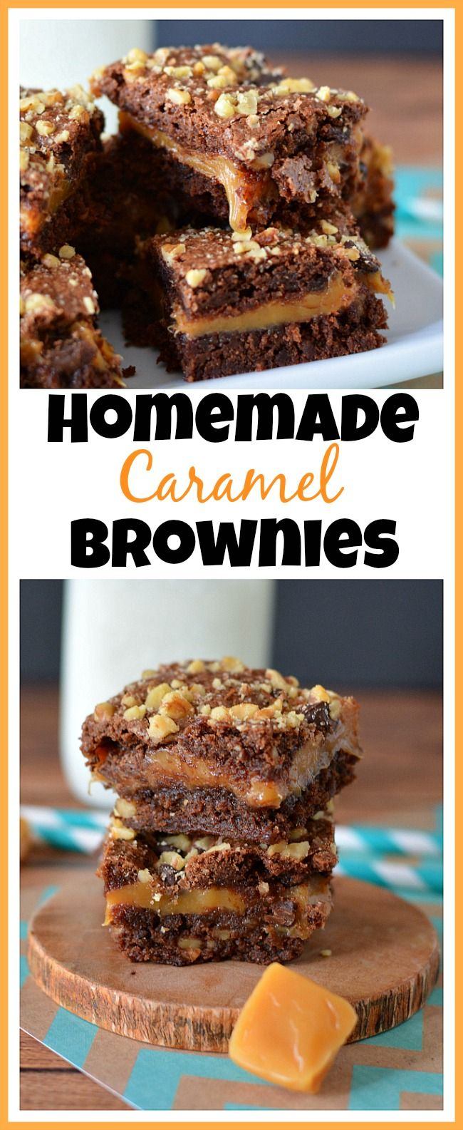If you love chocolate and caramel, then you'll love them together in these caramel brownies! The caramel is so gooey and delicious warm from the oven! | dessert, recipe, baking