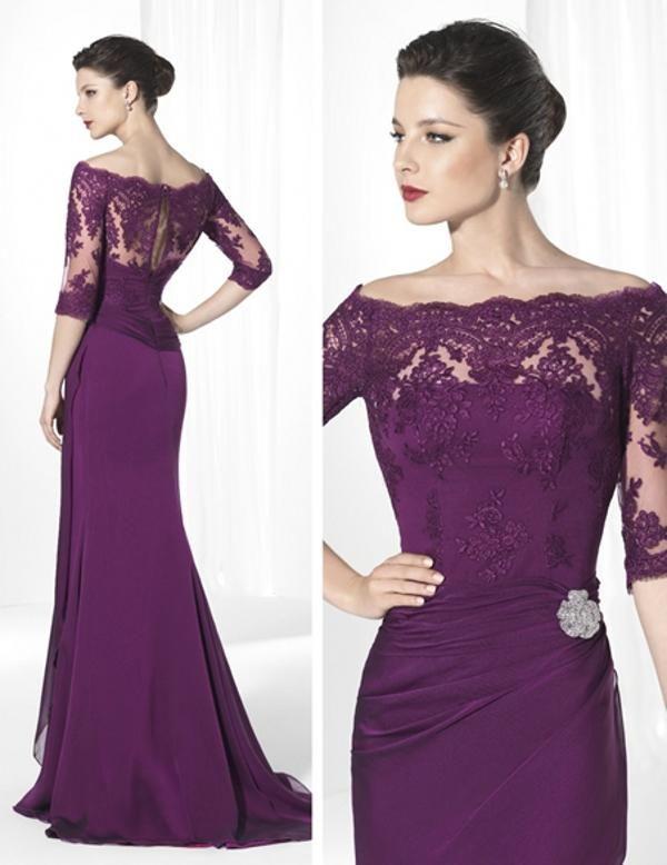 2015 purple dresses scoop neck 3/4Long sleeve appliques lace beads chiffon sheath long on DHgate.com.