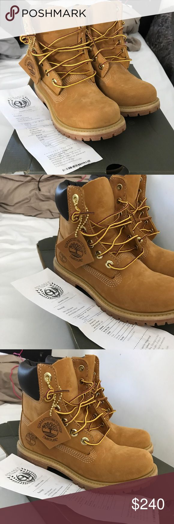 Timberland Brand new never worn size 5.5 timberland boots original. With receipt and box. Woman size not boys Timberland Shoes Winter & Rain Boots