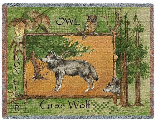 Grey Wolf Tapestry Throw