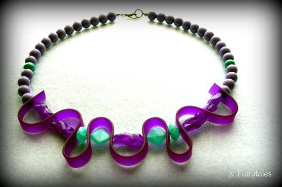 Purple Rubber Caoutchouc Necklace Statement by jvFairytales