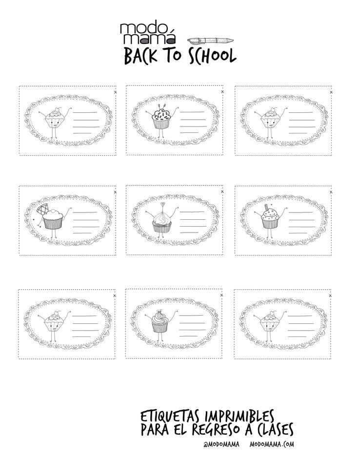 Etiquetas para imprimir y colorear. #Ponquecitos #Cupcakes #RegresoAClases