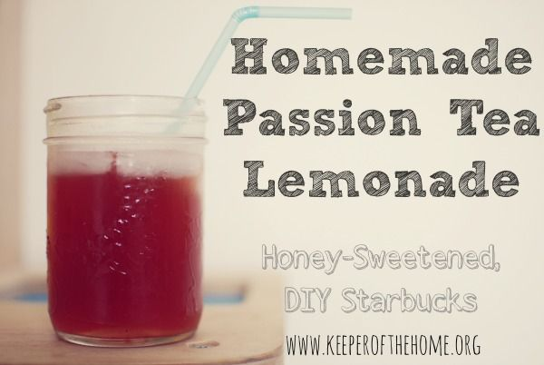Homemade Passion Tea Lemonade. Honey-sweetened, DIY Starbucks. The perfect drink for summer. {Keeper of the Home}