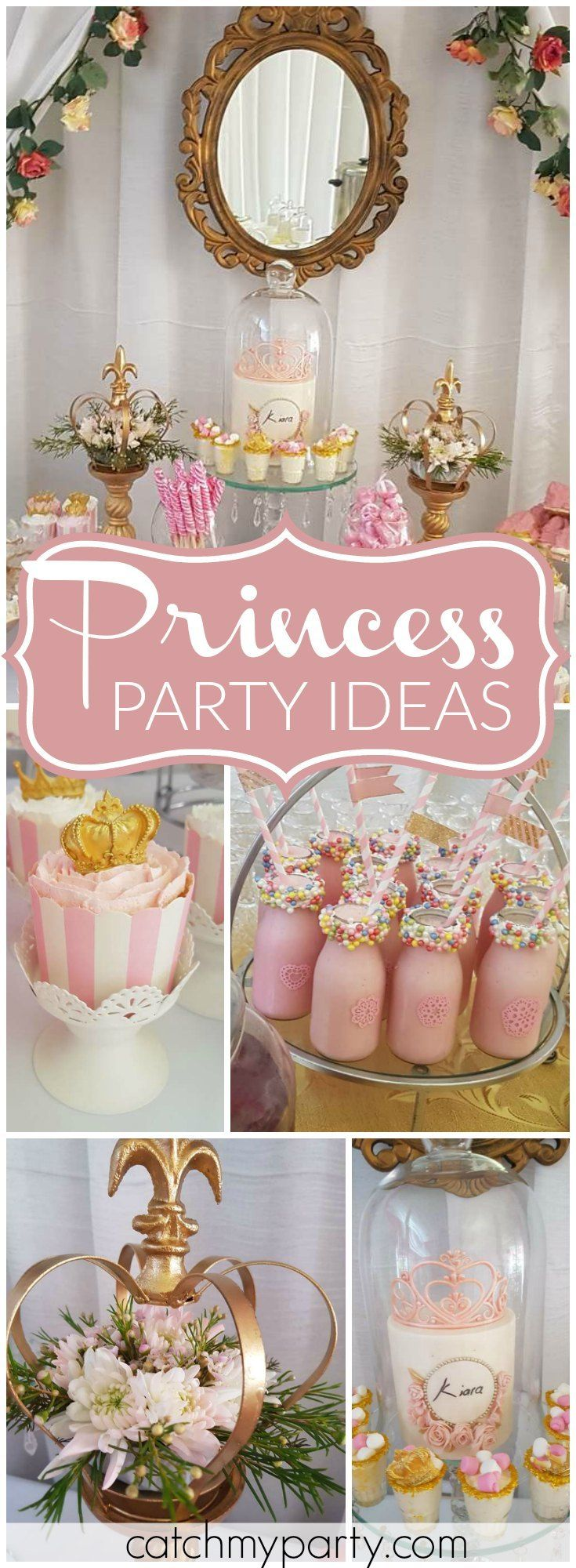 Wow! What a gorgeous pink and gold princess girl birthday party! See more party ideas at Catchmyparty.com!