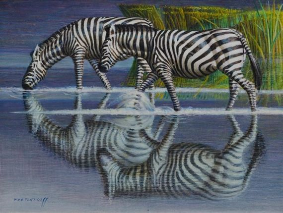 Vladimir Tretchikoff - Zebras drinking, oil on canvas