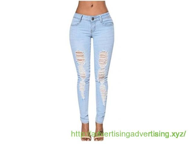 Dellytop Women's Blue Denim Stretch Jeans Destroy Skinny Ripped Distressed Pants