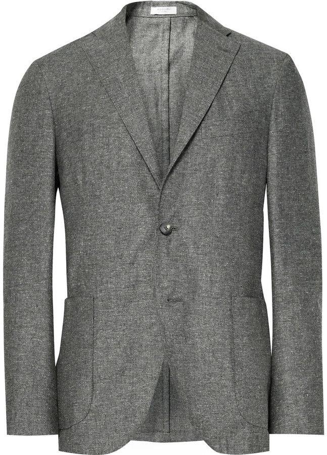 Boglioli Grey K-Jacket Slim-Fit Slub Silk and Linen-Blend Blazer