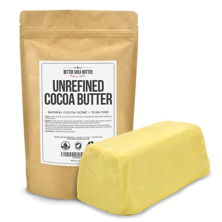 Build a natural barrier between your skin and the harsh outside world with our 100% pure cocoa butter. Our organic, unrefined cocoa butter is pressed from the roasted seeds of Cacao Trees grown in North America and provides a nutrient-rich base for homemade skincare products.