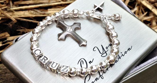 Boys Silver Baptism Name Bracelet - 'Believe'. Find it at www.giftedmemoriesjewellery.com.au