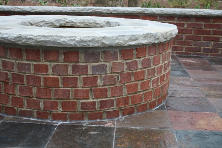 Red brick firepit with cap firepit pinterest the cap for Backyard brick fire pit