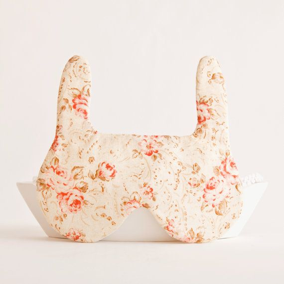 Bunny rabbit Sleep Mask Gift Valentine's Day by JuliaWine on Etsy, $17.00