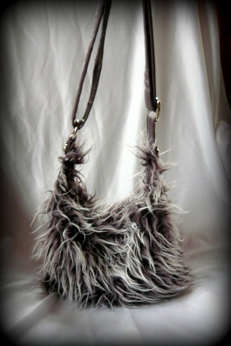 Handmade by Judy Majoros- Yeti bag.  Faux fur mini hobo bag. Faux fur crossbody bag.Recycled bag