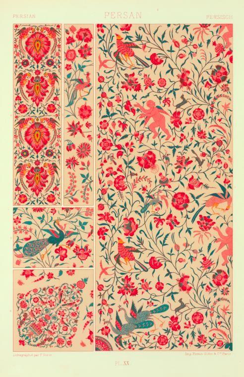 Art persan : toiles impriméés : figures de fleures et d'animaux. From New York Public Library Digital Collections.