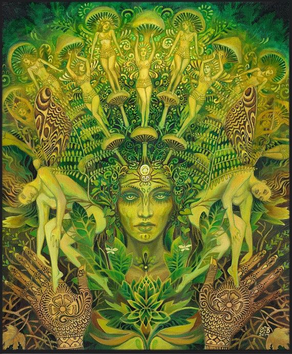 Dryad Forest Nymph Goddess Psychedelic Art Original Oil Painting