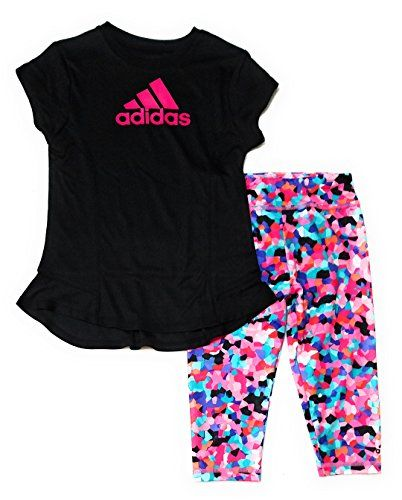 481edc40 adidas Toddler Girls 2pc Athletic Shirt and Leggings Set, Black (2T). Adidas  little child young ladies 2pc short sleeve athletic