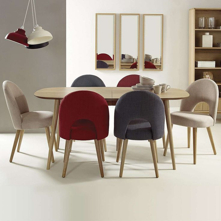 Skandi Oak Extending Dining Table Upholstered ChairsSolid