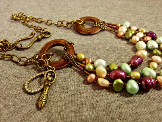 Goddess necklace coloured pearls freshwater pearl by ColourMystic