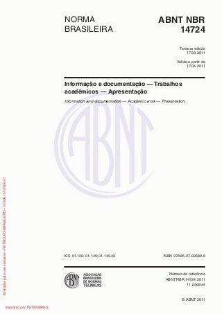 Nbr 14724   2011 - nova norma da abnt para trabalhos acadêmicos