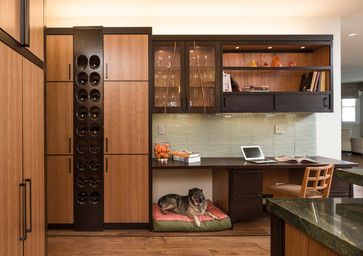 Don't forget a space for your dog in your office! I like this little cubby
