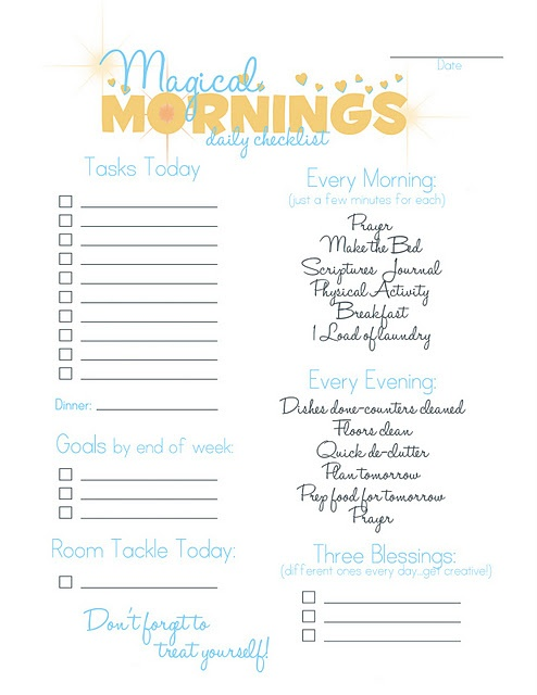 Magical Mornings Checklist - free printable to help you smooth out your mornings