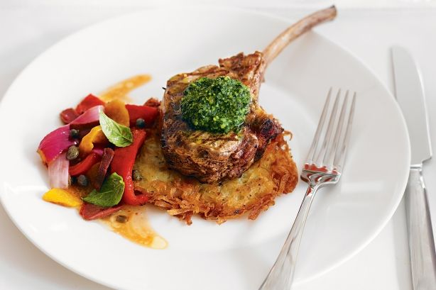 Served on a bed of crispy potato and topped with nutty pesto, these veal cutlets score full points on taste and presentation.
