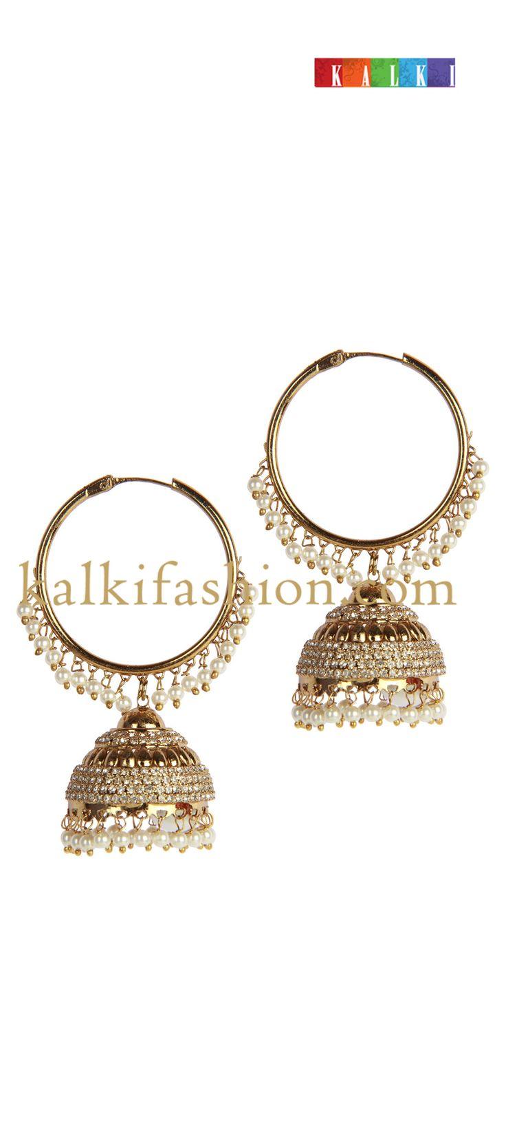 Buy it now  http://www.kalkifashion.com/diamond-studded-jhumkis.html diamond studded jhumkis