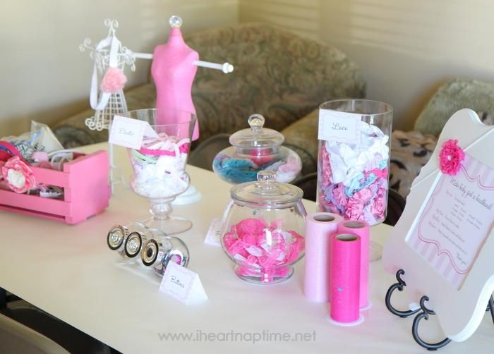Have your guests make hair bows for baby at the shower as a gift