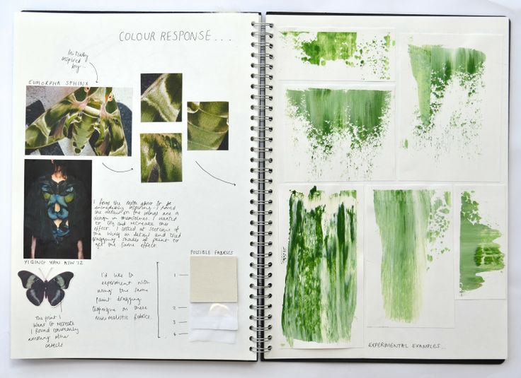 Fashion Sketchbook - butterfly, insect inspired fashion design - colour, pattern, layout, samples