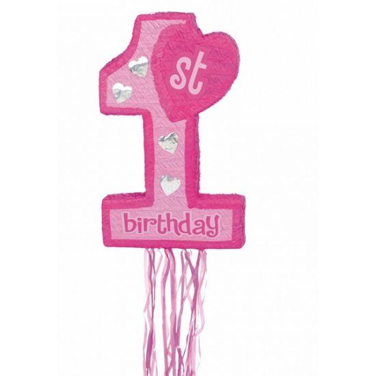 Roze pinata voor de 1e verjaardag. Feestelijke pinata in de vorm van een roze nummer 1. De pinata wordt leeg geleverd, maar is te vullen met snoep of speelgoed. De pinata is gemaakt van papier mache. De pinata is ongeveer 56,5 x 37 x 12,5 cm groot.