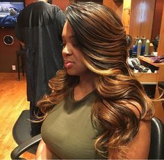 Side Part And Chestnut Highlights