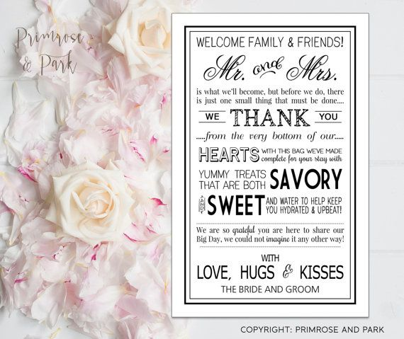 Wedding Gift Ideas For Out Of Town Guests : ... // Instant Download // Wedding Welcome Bags for Out of Town Guests