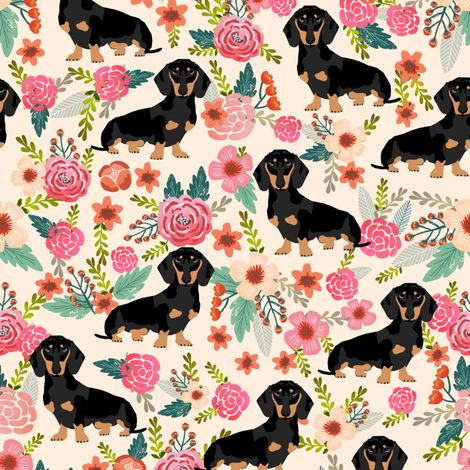 © Pet Friendly - Super cute doxie florals fabric. Best dachshund wiener dogs print girly blush for trendy decor and home textiles. Sweet doxies weiner dogs vintage florals design. Dachshund owners will love this trendy spring vintage florals pet dog fabric.