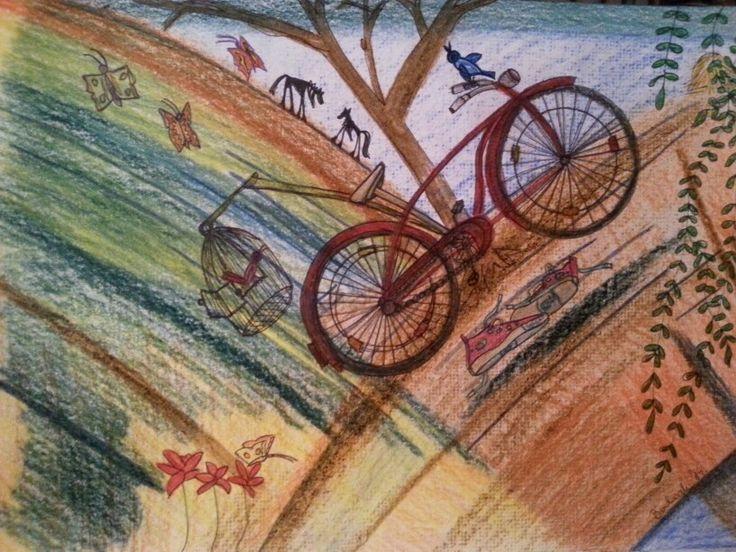 Csenge nyári álma -kislányomnak. Csenge's summer dream - of my babygirls. Progresso pencil; fineliner; A4 paper. Artist: Balogh Krisztina.