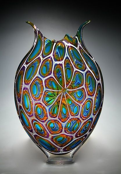 Breathtaking murrini technique, creating a mosaic flower-like patterns. A fabulous conversation piece to display in your home or office. Aqua, Gold, and Hyacinth Foglio by David Patchen: Art Glass Vessel available at www.artfulhome.com