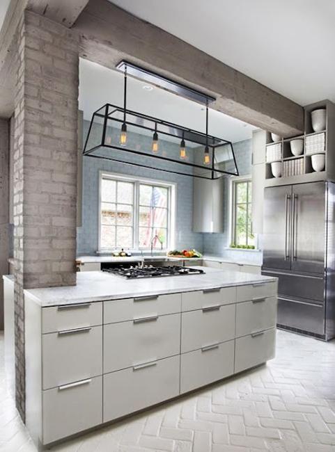25 Modern Kitchens and Interior Brick Wall Design Ideas