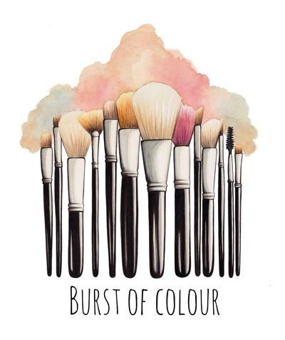Makeup Brushes Illustration Art Print - in a gold frame in the master bathroom (no words)
