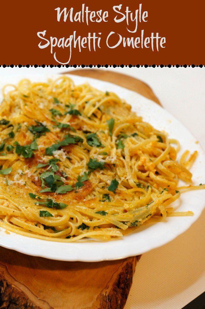 Maltese Style Spaghetti Omelette ~ #FoodOfTheWorld ~ Lydia's Flexitarian Kitchen