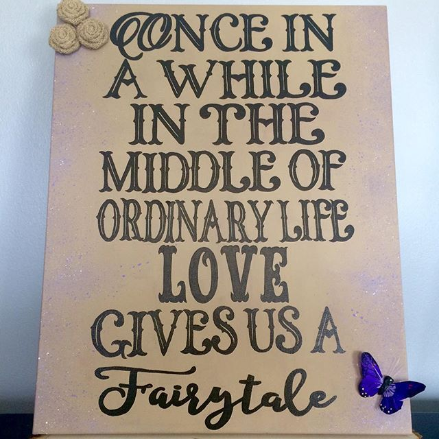 """I LOVE this custom sign creation!  I was given a canvas and we picked a quote together and the rest was just fun.  I painted the canvas an awesome """"burlap"""" the painted the letters with black.  The sides are speckled lightly with some purple (the wedding color). We attached a purple butterfly to match the theme and the burlap rosettes to match the burlap and twune used in other shower decor!  @theposhshopweddings"""