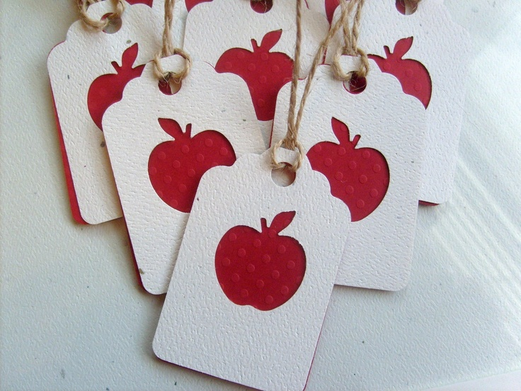 Treasury item... Little Red Apple Gift tags for teachers, made with polka dot embossed cardstock, Cute small gift tags... Qty.25. $14.00, via Etsy.