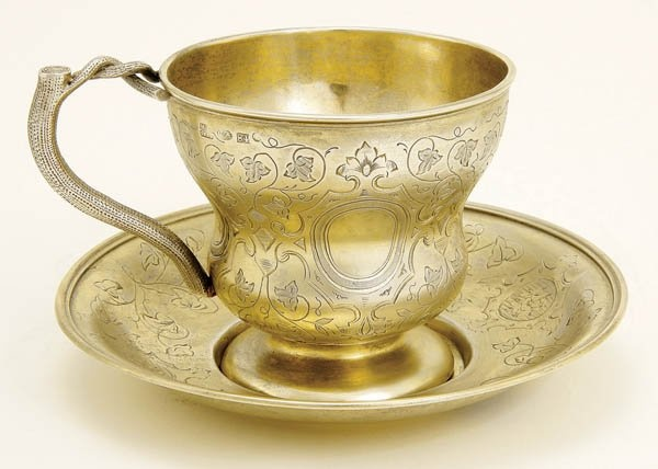 RUSSIAN SILVER GILT TEA CUP AND MATCHING SAUCER, St. Petersburg 1855