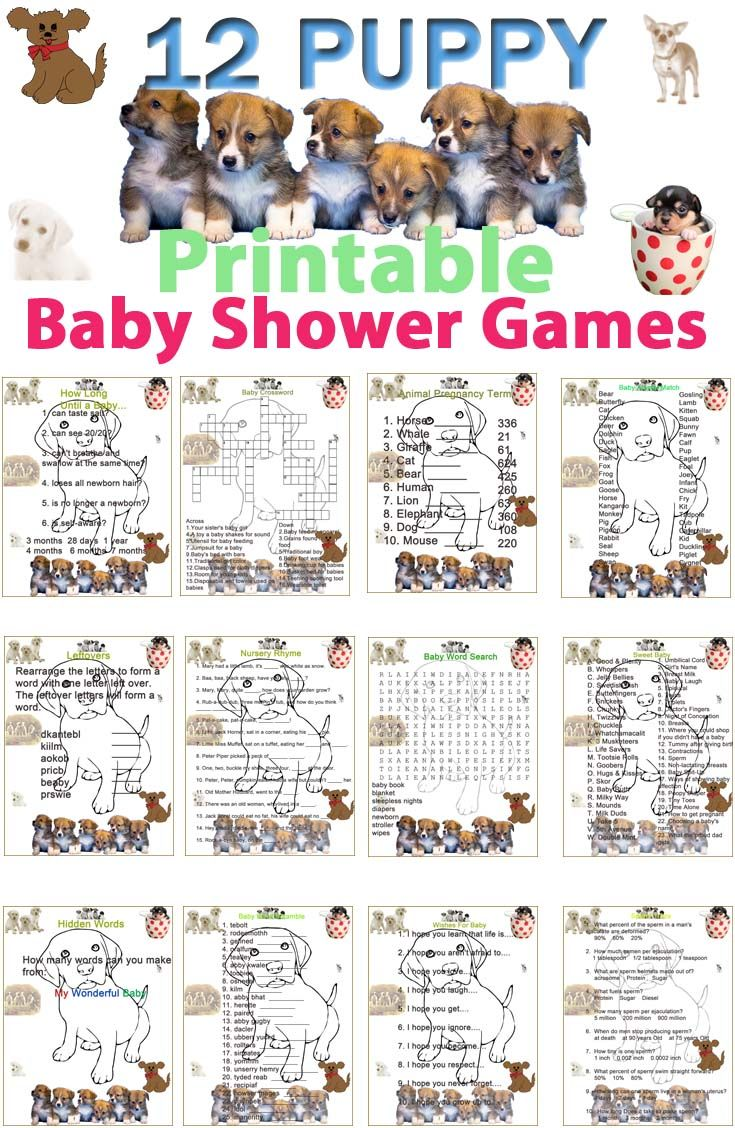 12 Printable Puppy Dog Baby Shower Games Best Printable Baby Shower