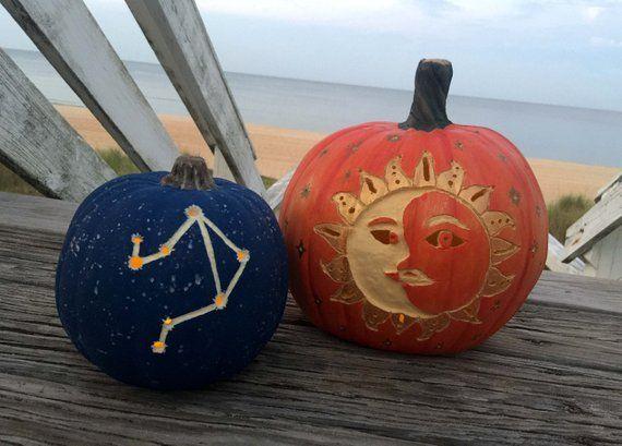 Celestial Pumpkins Carved Coastal Pumpkins Sun Moon Face