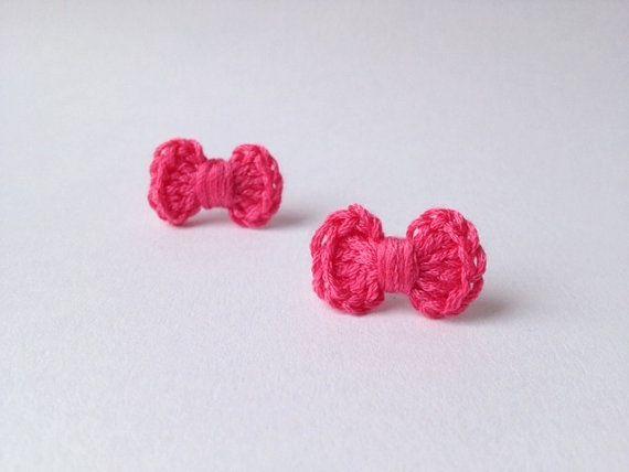 pink bow earrings, cute earring studs, crochet bow earrings, kawaii bow jewelry, pink gift, tiny bow earrings on Etsy, $6.90