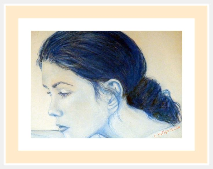 My beautiful daughter. Watercolour pencil and gesso on canvas. Copyright R.P. Christie