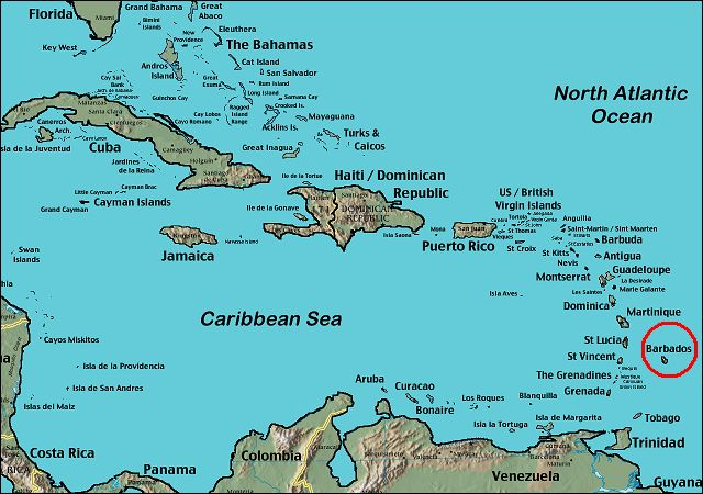 Map of the Caribbean, showing the position of Barbados.