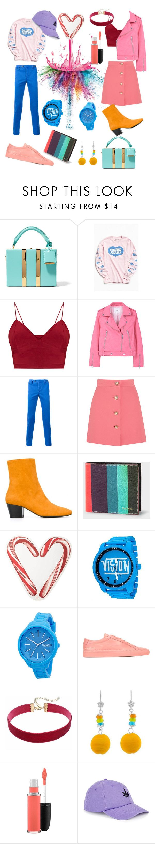 Candy Couple by feliciamia on Polyvore featuring MANGO, Miu Miu, Dorateymur, Sophie Hulme, Rip Curl, NOVICA, Urban Outfitters, PT01 Pantaloni Torino, Paul Smith and Common Projects